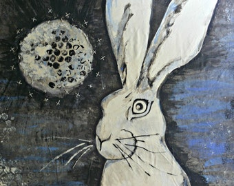 Art Print 4x6 Small Whimsical Dark Fantasy Tarot Mixed Media Watercolor Wild Eyed Hare
