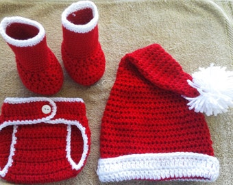 Crochet Baby Boy/Girl Santa Christmas Diaper Cover Outfit Photo Prop ORDER BY DECEMBER 15TH