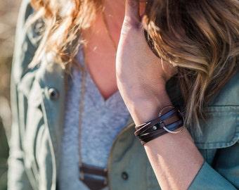 Leather Personalized Charm Wrap Bracelet - Item 2882