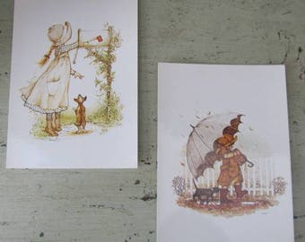 Holly Hobbie Vintage Postcards x 2 - 1980's - Unwritten On