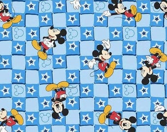 Disney Mickey Blue Checkered cotton woven fabric by the yard