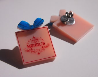 Mendl's Box - The Grand Budapest Hotel - Wes Anderson - Stud Earrings - Layered Laser Cut Acrylic