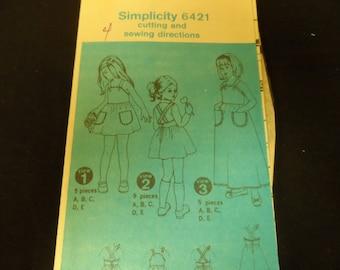 Simplicity 6421 Girl's Sunback Apron Style Dress Jumper size 4