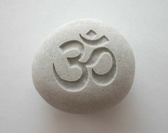 Om Engraved Stone Aum White Light Grey River Rock