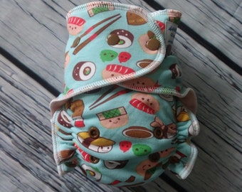 Stay Dry One Size Overnight Fitted Cloth Diaper in Sushi
