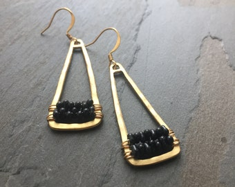 FLYNN-Golden Triangle Earrings with Rows of Black Beads