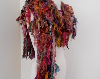 Autumn woodland shades Recycled silk hand knitted boho tattered rag scarf