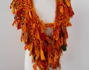 orange recycled silk hand knitted boho tattered rag scarf