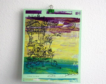 CLIFFHANGER #23 colorful summer beach print in vibrant hues by Kathryn DiLego