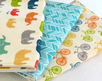 Set of 3 Organic Burp Cloths . Elephants, Bicycles + Aqua Herringbone, Baby Shower Gift, Organic Baby Gift, Baby Burp Cloths, Modern Baby