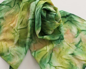 Hand Painted Silk Scarf - Handpainted Scarves Garden Green Spring Lime Avocado Olive Kelly Hunter Forest Grass Peach Tan St Patricks Day
