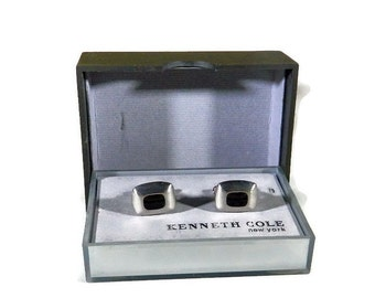 Kenneth Cole Polished Chrome and Black Onyx Cufflinks