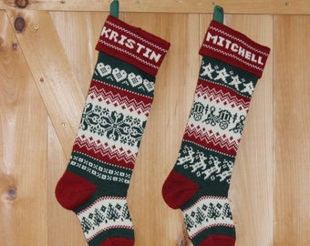 Pair of personalized Christmas Stockings, with red cuffs