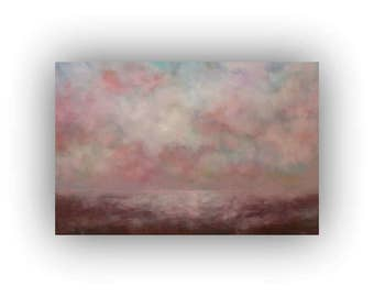 Brown and Pink Abstract Landscape- Large 24 x 36 Field Sky and Clouds Oil Painting- Original Palette Knife Art on Canvas