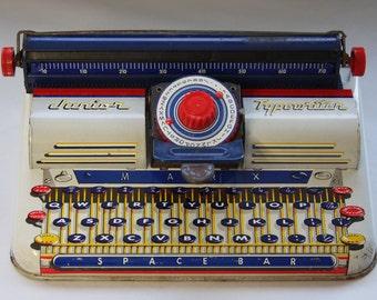 Vintage TYPEWRITER- Kid's Toy Junior Typewriter- Louis Marx- Tin Toy- Blue Red Retro Play with Keys- Space Bar
