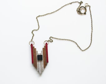 Geronimo Wooden Pendant Necklace in Red, Bronze, Silver and Black