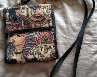 Small Egyptian Theme Shoulder Bag, Luxor Souvenior, Multi Pockets, Las Vegas, Belly Dance, Gently Used like new