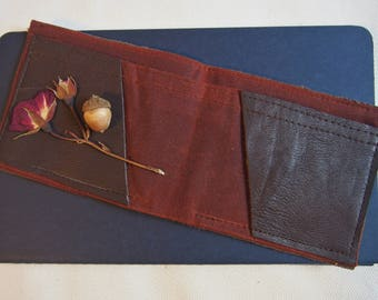 Brown Leather and Dark Red Waxed Cotton Billfold Wallet