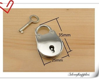 25mm x 35mm Nickel Padlock  lock and key  Purse lock Charm lock  E9