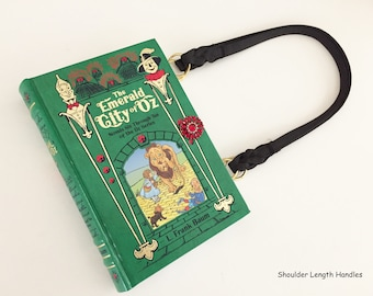 The Wizard of Oz Book Purse - Emerald City of Oz Book Clutch - Wicked Witch Shoulder Book Cover Handbag - Halloween Costume Handbag
