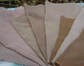 "Walnut Dyed Silk Fabric Destash 8 Pieces Silk Light Brown Pinkish Tan Shades 9"" x 14""to 10"" x 16""  Natural Dye Art Fabric Habotai Crepe Silk"