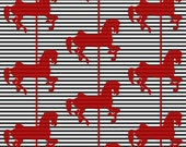 Red Black White Carousel Horse Stripe Fabric - Karuzela5 By Ravynka - Carousels Cotton Fabric By The Yard With Spoonflower