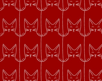 Mod Red Cat Fabric - Kitties (Red Background) By Eleventy-Five - Red and White Kitty Cat Doodles Cotton Fabric By The Yard With Spoonflower