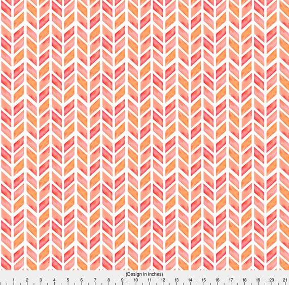 Feather Fabric Watercolor Herringbone In Solid Pinks By