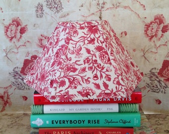"Red Hurricane Lamp Shade, Fabric Lampshade for Kerosene Lamp, 5""t x 12""b x 7"" h, Handmade Lighting for Country Style Home, Classic Look!"