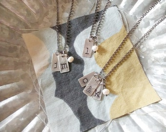 Family Custom Hand Stamped Simple Mommy Necklace with Kids or Husband And Wife Initials with Freshwater Pearl by MyBella