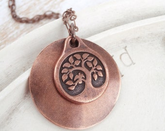 Copper Willow Tree Necklace