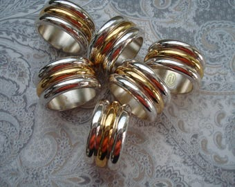 Set of 6  Heavy Chrome Gold and Silver Napkin Rings, Grooved, 1980s, Stylish, Elegant, Round, Chromium, Fine Dining, Napkins