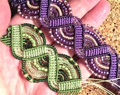 RESERVED for Lora - Purple and Green Macrame Bracelets - Green and Purple Micro Macrame Bracelets - Beaded Macrame Bracelets
