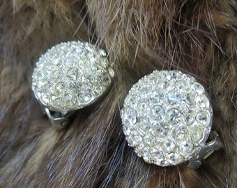 Pave Rhinestone Button Earrings Vintage Silver Tone signed Bellini
