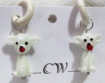 Piercless White Doggie Rubber Earrings pr