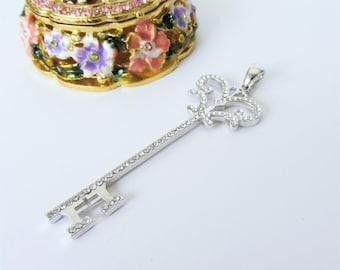 Silver Key Pendant Micro Pave Key Charm