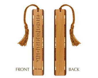 Dr. Seuss Reading Quote About Learning Engraved Wooden Bookmark with Rope Tassel