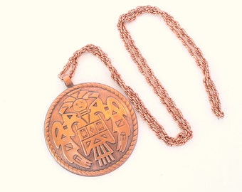 Copper Medallion Pendant Necklace Vintage Bell Trading Company Native American Large