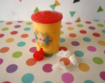 Vintage Mid Century Dollhouse Miniature Waste Basket Trash Can with Lid Yellow and Red Doll Toy
