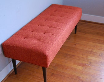 Midcentury Modern Bench Orange Tufted Eames Inspired
