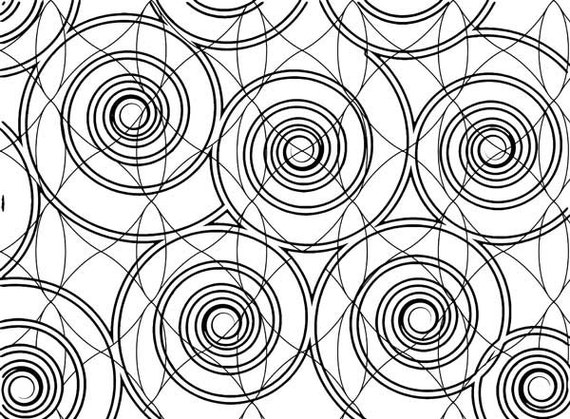 Geometric Swirl Circles Abstract Adult Coloring Page Abstract