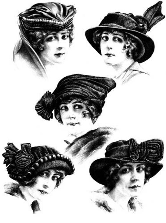 1920s flapper girls wearing hats clipart png clip art Digital Image Download graphics transparent images digi stamp digital stamp printable