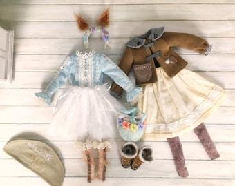 Jiajia Doll limited - Snow Squirrel Winter Set - Full Set 8 pieces for  momoko Misaki Dorandoran obitsu fashion royalty ruruko