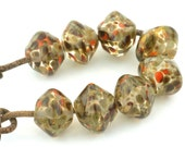 Praline Bicone Handmade Glass Lampwork Beads (8 Count) by Pink Beach Studios - SRA (2107)