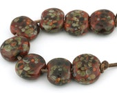 Fallen Leaves Lentil Handmade Lampwork Glass Beads (8 Count) by Pink Beach Studios (2164)