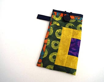 Colorful Fabric Eyeglasses Case, Modern Patchwork Sunglasses Pouch