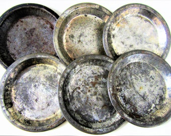 Pot Pie Tarts Baking Flaky Crust Pie Tin Individual Metal Vintage Collectible Set of 5 Original Patina