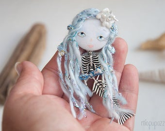 Little Mermaid ,  Woodland Fairy Tales, Art Doll Brooch