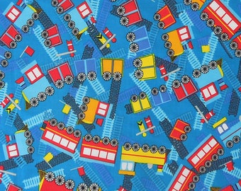 Kid's Blue Train Cotton Fabric, Boy's Blue Railway and Train Fabric, Nursery Cotton Fabric