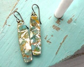 Polymer Clay Earrings Jewelry featuring an Abstract Petal Design in Teal, Taupe and White